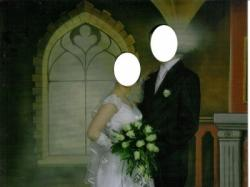 Suknia ślubna roz. 38 - 39 ( szyta w 5 miesiącu ciąży )