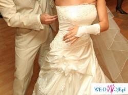 suknia ślubna, rozmiar 36-38 (172 cm), śmietankowa