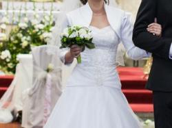 Suknia ślubna+ satynowe bolerko - koronkowy gorset