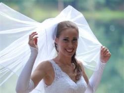 Suknia ślubna Sincerity 3333 dla wysokiej + welon, 1200 zł