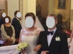 Suknia ślubna Sincerity 3761, biała, rozm. 42, w komplecie z bolerkiem