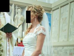 suknia ślubna śmietankowa biała ecru litera A tanio