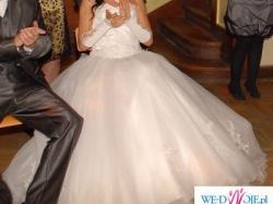 Suknia ślubna - śnieżnobiała, typ księżniczka