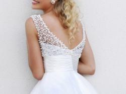 Suknia ślubna sukienka perły, koronka, krótka Sexy 2015