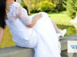 Suknia ślubna syrena/rybka z koronki plus dwa welony