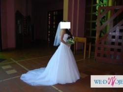 Suknia ślubna typu księżniczka tiulowa
