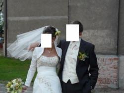 Suknia ślubna w kolorze jasny ecru, rozm. 38/40