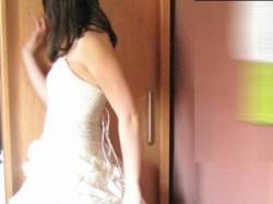 suknia śłubna w kolorze śmietanki