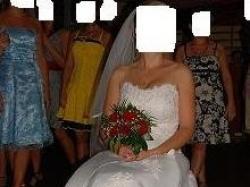 suknia ślubna + welon + rękawiczki