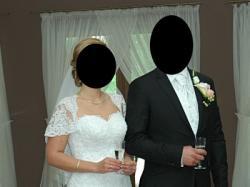 Suknia ślubna wg projektu MAGGIE SOTTERO (model Camden) z trenem r.38