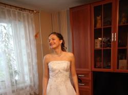 suknia ślubna wiązana + gratis bolerko i rękawiczki