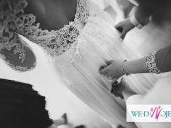 Suknia ślubna z gipiurą na tiulu+ tren+ welon