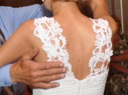 Suknia ślubna z gipiury i muślinu