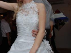 Suknia ślubna z golfem! R34/36 161cm + 5cm obcas, biała, stan idealny 1600zł