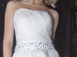 Suknia ślubna z muślinu, kryształki, muślin