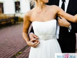 Suknia ślubna z muślinu,projekt Manuel Mota,model Anna