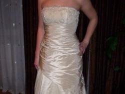 Suknia ślubna z pięknym bolerkiem ecru / złota
