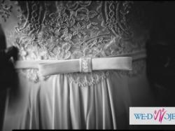 Suknia ślubna z trenem, bez koła, welon, podwiązka