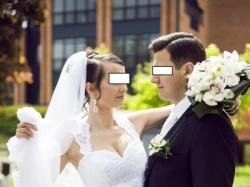 Suknia ślubna z welonem i narzutką