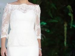 Suknia ślubna z włoską koronką i baskinką