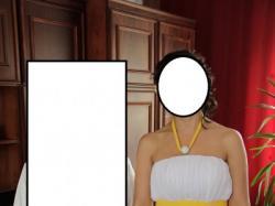 suknia slubna z żółtym pasem
