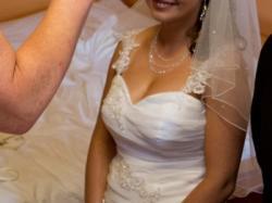 Suknia, sukienka ślubna rozm. 38, hiszpanka, falbany, zdobiony gorset