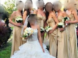 Suknia wieczorowa, długa, złota, nude, dla druhen, druhny 100 % jedwab