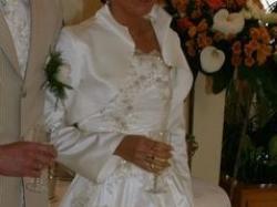 SUPER OKAZJA- wloska suknia ślubna ecru z bolerkiem