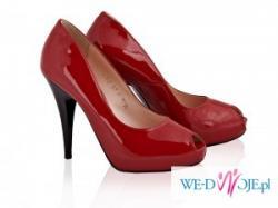 Szpilki lakierki  platforma czerwone/ nude ze ślubna grafiką na podeszwie