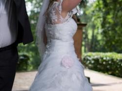 tanio śliczna suknia ślubna+bolerko+rękawiczki