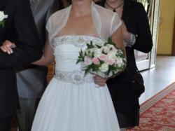 Tanio sprzedam suknię ślubną + gratis welon, bolerko