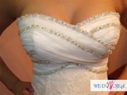 Tanio!!Wyjątkowa, koronkowa suknia ślubna 36/38!