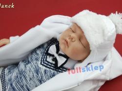 Ubranko z szelkami na chrzest z tkaniny bawełnianej dla chłopca