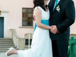 Unikatowa suknia ślubna - ręcznie malowane kwiaty