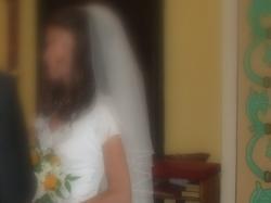 Welon ślubny dwuczęściowy (krótki i długi - odpinany)