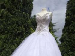 Włoska suknia ślubna Swarovski kamienie cyrkonie gorset nowa - 70%  36/38