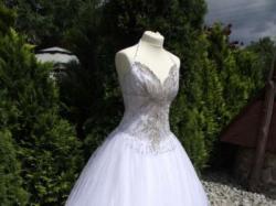 2ceb822561 ... Włoska suknia ślubna Swarovski kamienie cyrkonie gorset nowa - 70% 36 38