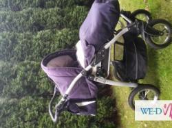 wózek polskiej firmy Jedo Special Edition - koloru granatowego z białymi wstawka