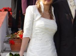 Wyjątkowa perłowa sukienka ślubna+welon i bolerko