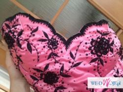 Wyjątkowa suknia Bicici rozmiar M róż z czarnymi wstawkami