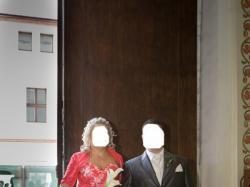 Wyjątkowa SUKNIA Ślubna amarant r.44