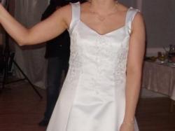Wyjątkowa suknia ślubna biało bordowa satyna rozmiar 38-40 + dodatki