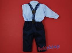 Z szelkami dla chłopca bawełniane ubranko na chrzest