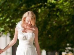 ZIEŃ zjawiskowa suknia ślubna z jedwabiu 36/S