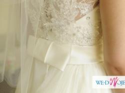 Zjawiskowa suknia ślubna+welon gratis