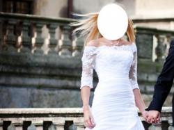 Zmysłowa biała suknia ślubna 38 wzór Lasarte La Sposa