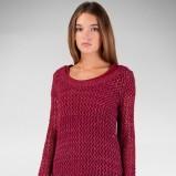 ażurowy sweter Stradivarius w kolorze bordowym   - kolekcja damska 2012/13