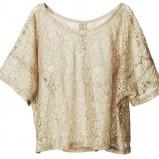 beżowa bluzka H&M z koronką - trendy na jesień-zimę