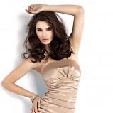 beżowa sukienka karteS satynowa - z kolekcji wiosna-lato 2011
