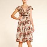 beżowa sukienka Mango w kwiaty - jesień-zima 2010/2011